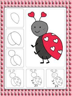 Valentine's Day Art Activities (February Directed Drawings) - Valentine's Day Directed Drawings - Art Drawings For Kids, Drawing For Kids, Easy Drawings, Art For Kids, Kids Fun, Valentines Art Lessons, Valentines Day Drawing, Directed Drawing, Drawing Lessons