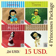 Pattern Deal  4 Princesses Package by rabbizdesign on Etsy, $15.00