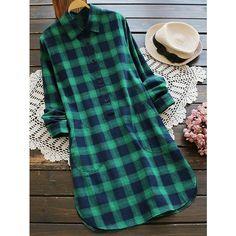 Pocket Plaid Shirt Dress ($20) ❤ liked on Polyvore featuring dresses, t-shirt dresses, blue tartan dress, plaid shirt dress, blue dress and tartan shirt dress