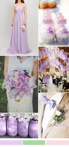 lilac wedding color ideas and chiffon bridesmaid dresses