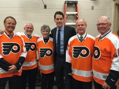 Bill Barber, Bernie Parent, Donna Ashbee, Chris Therien, Mark Howe and Bobby Clarke