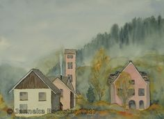 https://flic.kr/p/X2cEVc | Na de regen - ochtend in de bergen / After the rains - morning in the mountains | Watercolour on Saunders Waterford NOT 300 g/m2. Colours used are French Ultramarine, Payne's Grey, Raw Sienna, Winsor Yellow, Gold Ochre, Vandyke Brown, Permanent Alizarine Crimson; all Winsor&Newton Professional and Chinese White; Winsor&Newton Cotman.  The reference photo was made for me by my husband Peter.  Framed 40 x 50 cm; € 85,-  Meer informatie vindt u op / More informati