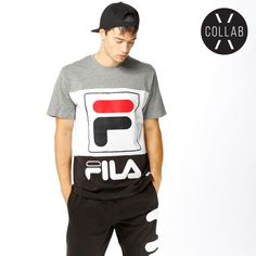 ac6899dca2f21 T-shirt from FILA with a printed logo on the front. The model is 185 cm  tall and is wearing size L.