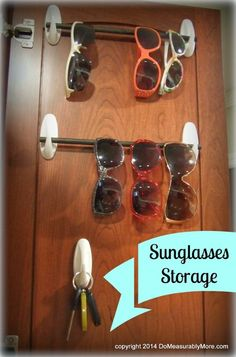 Use Command Hooks and a Rod For Sunglasses Storage Inside a Cabinet in laundry room! Konmari, Key Storage, Office Storage, Boat Storage, Closet Storage, Storage Rack, Extra Storage, Do It Yourself Camper, Double Usage