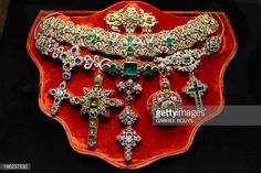This picture taken on October 29, 2013 shows a necklace of Saint Januarius, in gold, silver and precious stones created by Michele Dato in 1679, as it is displayed during the press day of the exhib... Pictures | Getty Images