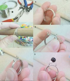Wire Wrapped Bead Ring DIY, jewelry DIY  http://beads.how/details-Wire-Wrapped-Bead-Ring-2882.html?Utm_rid=194581