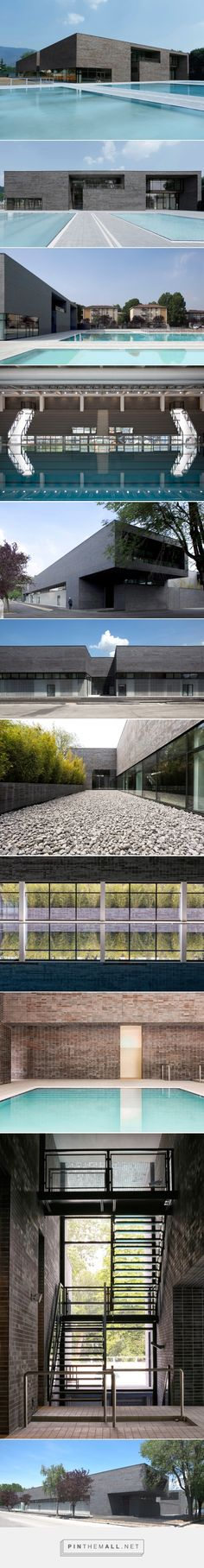 camillo botticini architetto clads entire brescia swimming center with black brick - created via http://pinthemall.net
