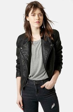 Free shipping and returns on Topshop Faux Leather Biker Jacket at Nordstrom.com. Triangular lapels studded with silvertone hardware style the collarless front of this cropped faux leather jacket for a sleek, moto-inspired look accentuated by paneled seams and zip cuffs.