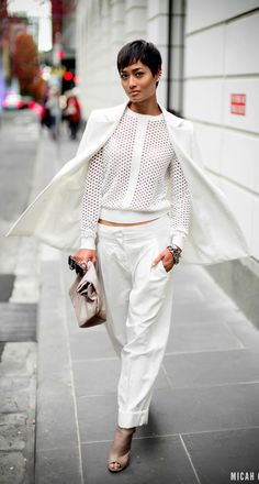 Mical Gianneli - Nice winter white ensemble. Really like the short hair style as well.