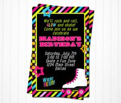 Roller skating birthday invitation roller skating party birthday invitations personalized printable pdf file on etsy 1200 stopboris Gallery