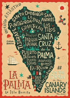 in La Palma with a sketchbook and a hashtag design by Steve Simpson Lettering Design, Hand Lettering, La Palma Canary Islands, Map Design, Graphic Design, Graphic Art, Travel Illustration, Canario, Travel Images