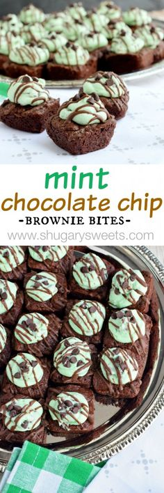 Mint Chocolate Chip Brownie Bites: delicious, from scratch, two bite brownies with a creamy Mint Chocolate Chip frosting. Recipe makes 48 brownies. Chocolate Chip Frosting, Chocolate Chip Brownies, Mint Chocolate Chips, Mint Frosting, Chocolate Swirl, Mint Desserts, Sweet Desserts, Easy Desserts, Delicious Desserts