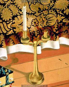 mid 15th c. candleholder.  Detail from Tod Mariens: Kunstwerk: Temperamalerei-Holz ; Einrichtung sakral ; Flügelaltar ; Meister des Albrechtsaltars ; Wien ; Himmelfahrt2:06:001-010 , Himmelfahrt2:23:037-054  Dokumentation: 1438 ; 1440 ; Klosterneuburg ; Österreich ; Niederösterreich ; Stiftsmuseum  Anmerkungen: 126,1x112,7 ; Wien ; Röhrig 1981