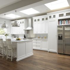 Hampton American Style Kitchen white color scheme and warm wood floor
