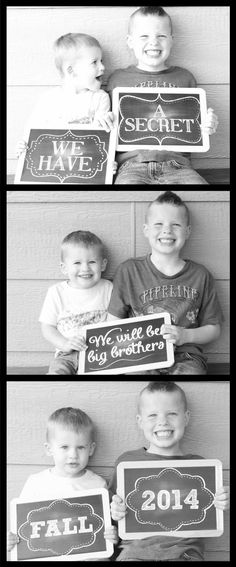 Third sibling photo booth style pregnancy announcement we made for our cousin! L - BABY ANNOUNCEMENT 3rd Pregnancy Announcement, Third Baby Announcements, It's A Boy Announcement, Pregnancy Announcement Photos, Pregnancy Advice, Baby Kind, Baby Love, Baby Baby, Baby Girls