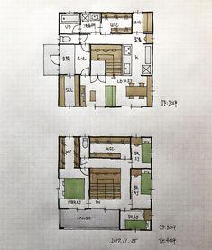 4.5畳の階段。 大胆だが踊り場にスタディコーナもあり、楽しいと思う。 下部収納も有効面積が多く使い勝手が良いような気がする。 House Plans, Floor Plans, How To Plan, Building, Home, Instagram, Buildings, Ad Home, Homes