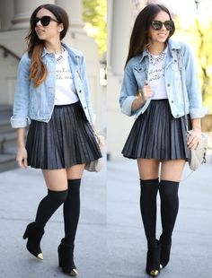 Furor Moda Limited Edition Top, Storets Pleated Skirt, Forever 21 Denim Jacket, Shoedazzle Shoes