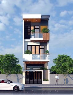 Small House Exteriors, Modern House Facades, Modern Exterior House Designs, Narrow House Designs, Modern Small House Design, 3 Storey House Design, Bungalow House Design, House Outside Design, House Front Design