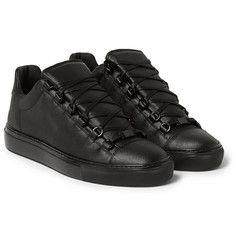 BalenciagaArena Denim-Effect Leather High-Top Sneakers