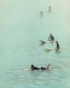 Waiting for the Next Set - Watercolor of surfers in San Diego, Ca. View from the Ocean Beach Pier. Ocean Beach Pier, Beach Art, Painting Inspiration, Art Inspo, Sup Surf, Ocean Art, Watercolor Paintings, Watercolour, Cool Art