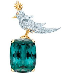 Bird on a Rock brooch setting, with an 86.60-carat green tourmaline and diamonds in platinum and 18-carat gold.