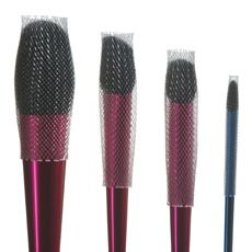 The Brush Guard! This is essentially a little tube you pull up over the brush bristles. You can use it during travel or storage to protect the bristles, or after washing you can use it while drying and it helps the brushes dry in their original shape!!! =] It's about $6.00 per pack and you can purchase a variety pack or different sizes. Definitly worth the money to keep your brushes good as new!!