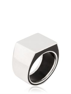 MAISON MARTIN MARGIELA - ENAMELED SILVER RING - LUISAVIAROMA - LUXURY SHOPPING WORLDWIDE SHIPPING - FLORENCE