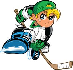 iCLIPART - Royalty Free Clipart Image of a Cartoon Boy Playing Hockey