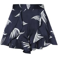 C/Meo wing print shorts found on Polyvore featuring shorts, blue, silk shorts, patterned shorts, blue shorts and print shorts