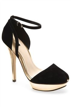 Black Gold Peep Toes