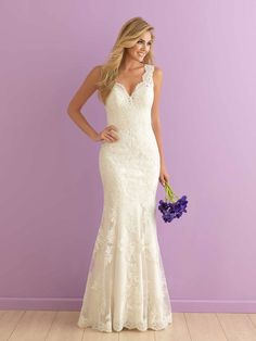 Lace fit-and-flare wedding dress with scalloped V-neck - Style 2901 from @allurebridals