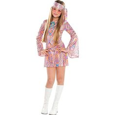 Become a dancing queen in our Disco Diva Costume! Disco Diva Costume for girls features a shimmery, swirl-printed mini dress with long bell sleeves. Fancy Dress Costumes Kids, Fancy Dress Outfits, Halloween Costumes For Girls, Costume Halloween, Girl Costumes, Girl Halloween, 70s Outfits, Kids Outfits Girls, Hippie Outfits