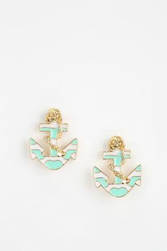 I want in every color...Nautical Anchor Earring