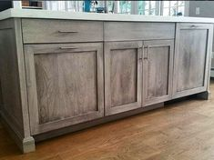 This cabinet color was created in three steps using Weatherwood Stains. Reclamation Stain was applied to alder wood + a coat of White Oil to lighten. Then seal with Varnish to protect. For more information or to purchase your supplies, visit ThomasMachInteriors.com