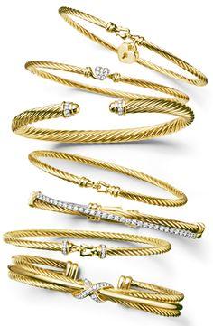 David Yurman gold and diamond bangles