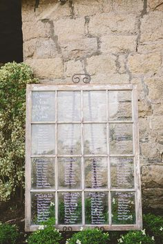 Vintage window pane seating chart | Photography: Closer To Love Photography - closertolovephotography.com  Read More: http://www.stylemepretty.com/california-weddings/2014/05/05/rustic-romantic-temecula-creek-wedding/
