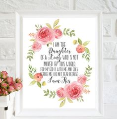 I am the daughter of a king Baptism Gift Scripture Print Daughter of God Watercolor Rose Floral Nursery Decor Nursery bible verse print Baby Girl Baptism, Baptism Party, Baptism Gifts, Goddaughter Gifts, Mom Quotes From Daughter, Daughter Of God, Mothers Day Quotes, Girl Nursery, Nursery Decor