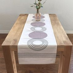 Isola- Retro Circle Target Modern Mid Century Table Runner - Off white /Dk. Circle Dining Table, Mitered Corners, Canvas Home, Table Linens, Midcentury Modern, Table Runners, Home And Family, Mid Century, Celine