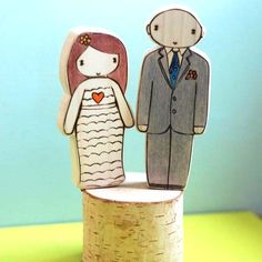 Non-Traditional Handmade Wedding Cake Toppers