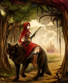 CAAB postcard /' Red Riding HoodFear of Wolves /' Illustration
