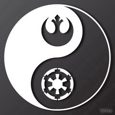 Imperial and Rebel Alliance Inspired Yin Yang Vinyl Decal (White) - Star Wars Stormtroopers - Ideas of Star Wars Stormtroopers - Imperial and Rebel Alliance Inspired Yin Yang by KillumGraphics Simbolos Star Wars, Star Wars Gifts, Tatoo Star, Star Wars Tattoo, Yin Yang, Decoracion Star Wars, Empire Logo, Images Star Wars, Rebel Alliance