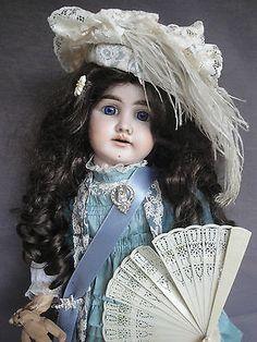 "ANTIQUE LARGE FRENCH JULIEN DOLL w. BRU CLOTHES 1902 63cm 24.8"" LIKE A PRINCESS"