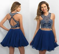 2017 New Two Pieces Royal Blue Jewel Neck Homecoming Dresses Short Mini Crystal…