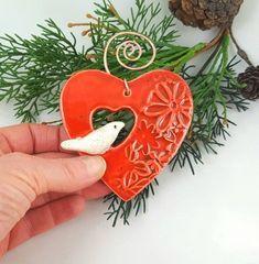 Heart and bird ornament ceramic bird heart bird Christmas ornament bird on a heart gift bird lover pottery anniversary valentine heart Bird Christmas Ornaments, House Ornaments, Handmade Ornaments, Christmas Tree, Clay Birds, Ceramic Birds, Ceramic Art, Bird Sculpture, Paperclay