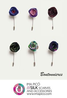 Unique and elegant flower lapel pins for men made from my exclusive designed printed silk in beautiful colours. The boutonnieres are individually handmade with the greatest care and sewn to a silver finish metal stickpin. These simple buttonholes will give any jacket or blazer a stylish finishing touch.