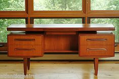 Mid Century Floating Teak Desk G Plan by IB Kofod Larsen Danish Eames Knoll | eBay