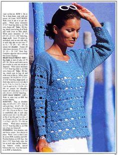 Blue Openwork Cardigan free crochet graph pattern