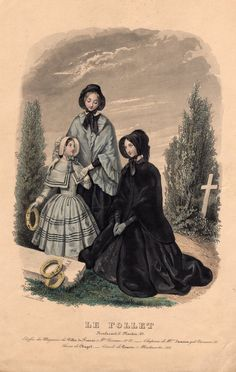 Rare 1847 mourning fashion plate showing the bereaved actually visiting the grave.