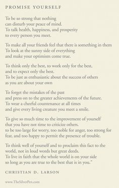 Promise Yourself by Christian Larson - Inspiring Poems | The Silver Pen