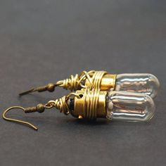 Steampunk Jewelry Brass Upcycled Light Bulb Earrings by Tanith